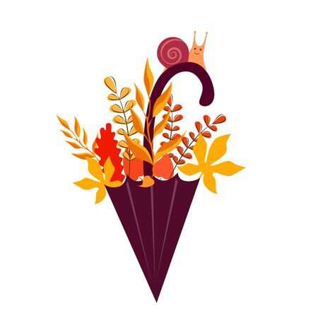 Vector illustration of a rain umbrella with autumn leaves and a snail