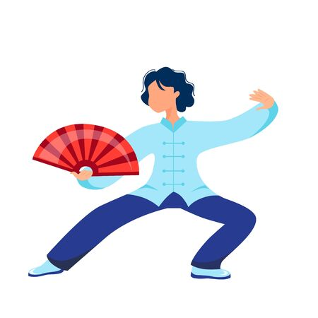 Vector illustration of a girl performs kung fu and tai chi exercises with a fan Ilustração