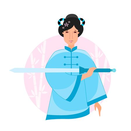Vector illustration of a girl performs tai chi exercises with a sword
