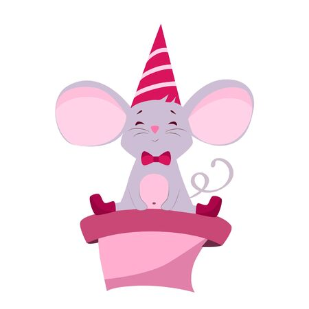 Vector illustration of a mouse in a cap sitting on a box with a gift