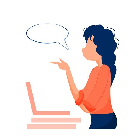 Vector illustration of a girl working in the office, communication