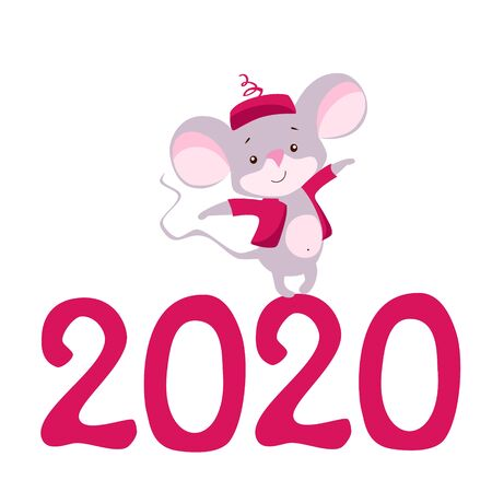 Vector illustration mouse for new year 2020