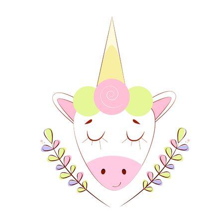 Vector illustration portrait of a funny unicorn