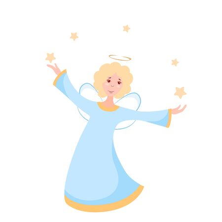 Vector illustration of a Christmas angel with stars Çizim