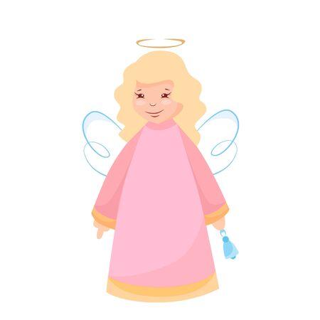 Vector illustration of a christmas angel with a bell Ilustração
