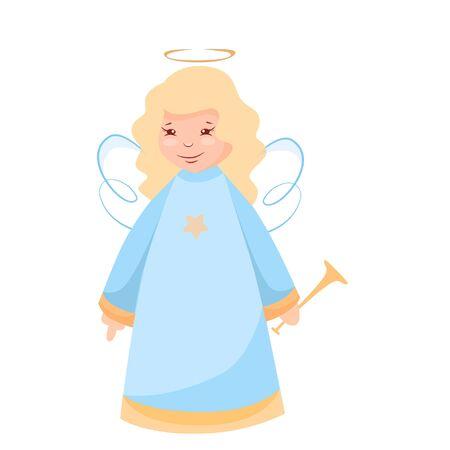 Vector illustration of a Christmas angel with a trumpet   Ilustração