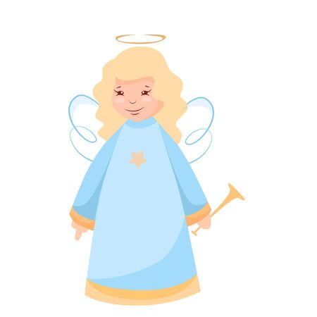 Vector illustration of a Christmas angel with a trumpet Archivio Fotografico - 132553982