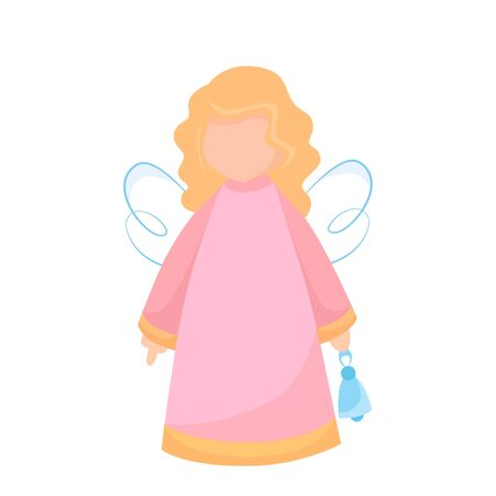 Vector illustration of a New Year`s angel with a bell Çizim
