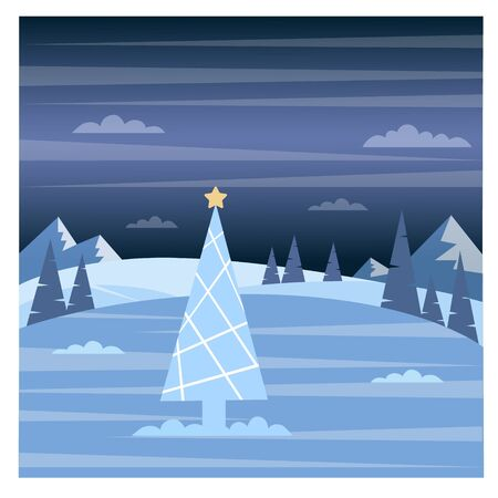Vector illustration of a Christmas tree on a background of a winter forest