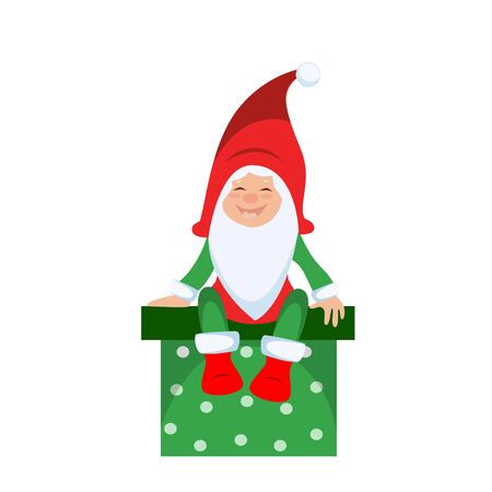 Vector illustration of a christmas gnome sitting on a gift box Ilustracja
