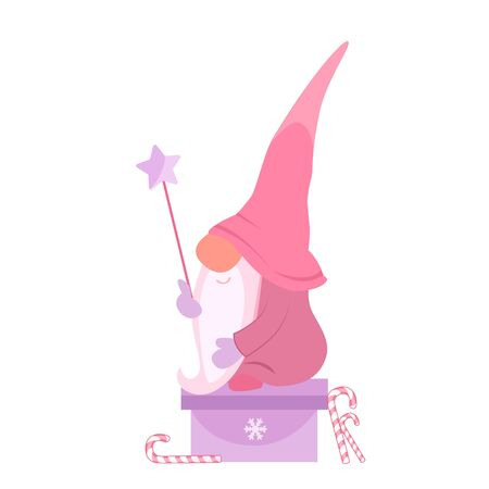 Vector illustration of a Christmas gnome with a star sitting on a gift box