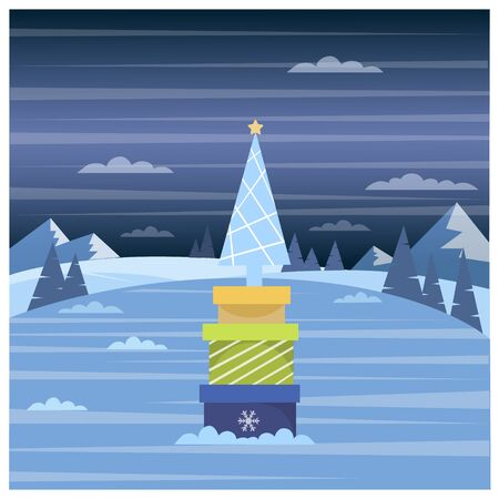 Vector illustration of winter forest and Christmas presents Ilustracja
