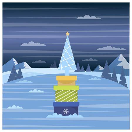 Vector illustration of winter forest and Christmas presents Ilustração