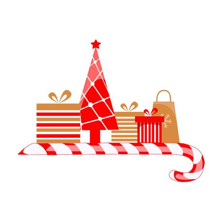 Vector illustration of christmas presents. Gift Boxes with Christmas Tree Ilustração