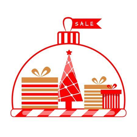 Vector illustration of Christmas presents with Christmas tree. Ilustração