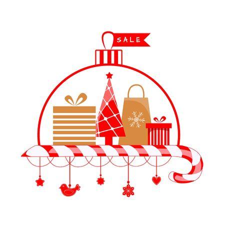 Vector illustration of christmas sale. Gift Boxes with Christmas Tree Ilustração