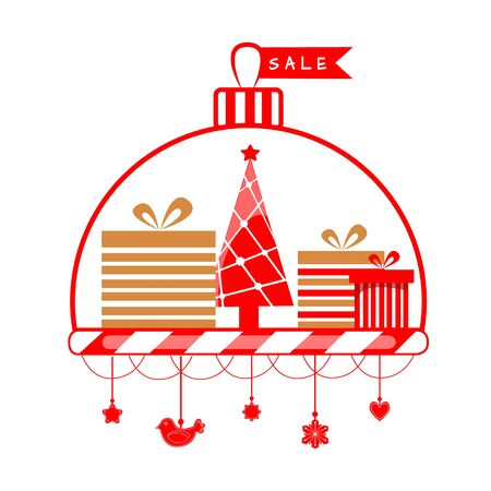 Vector illustration of christmas shopping. Holiday packages, gifts and Christmas tree