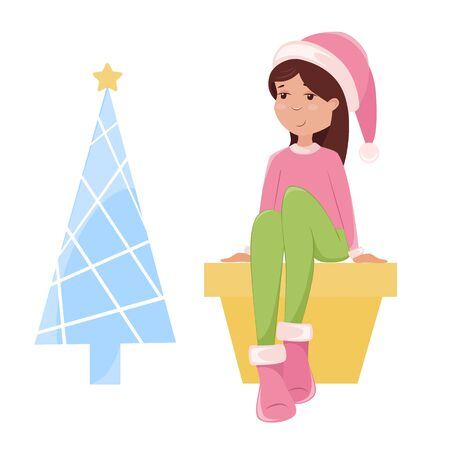 Vector illustration of an elf in a red cap and a Christmas tree