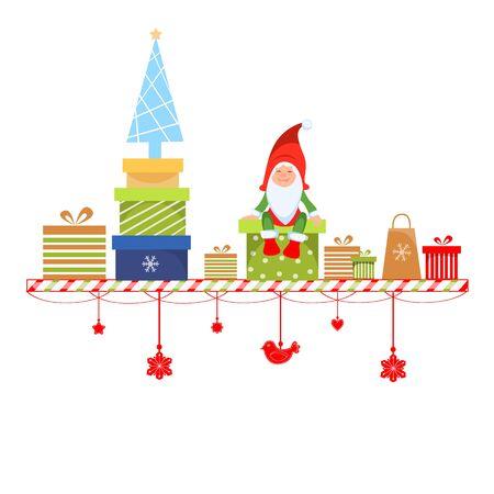 Vector illustration of a christmas gnome sitting on a gift box Ilustração