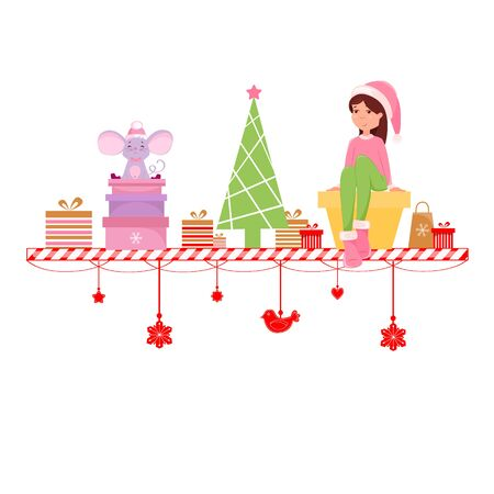 Vector illustration of Christmas elf and mouse with gift boxes