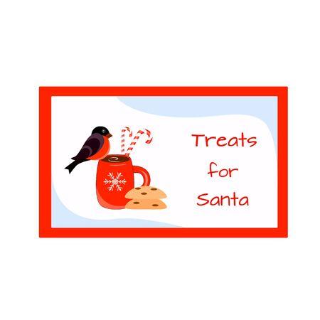 Vector illustration Santa treat. Bullfinch, cookies and a bottle of milk Stock Illustratie