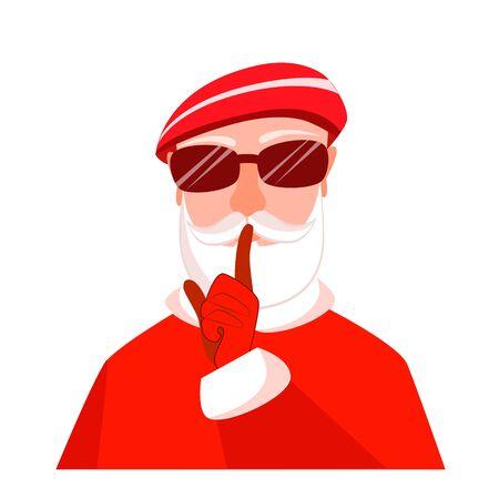 Vector illustration of a secret santa in glasses