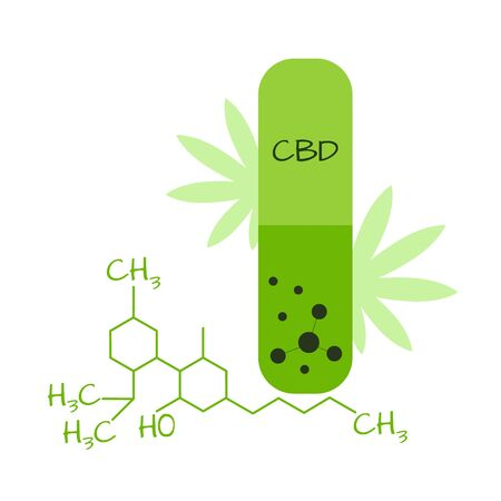 Vector graphic green capsule with cannabidiol Ilustração