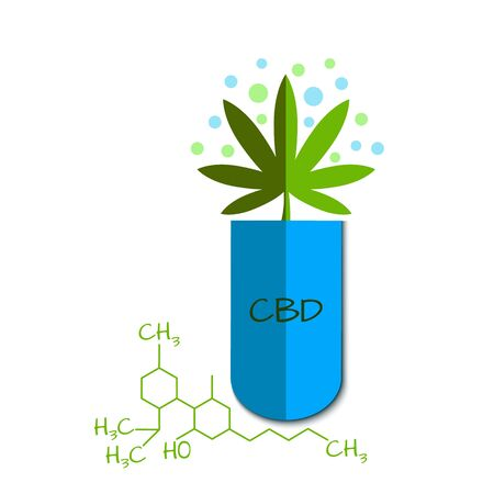 Vector graphic of a blue capsule with cannabidiol
