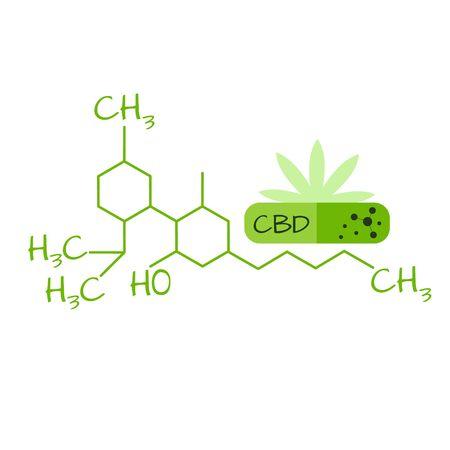 Vector graphic green capsule with cannabidiol oil Ilustração
