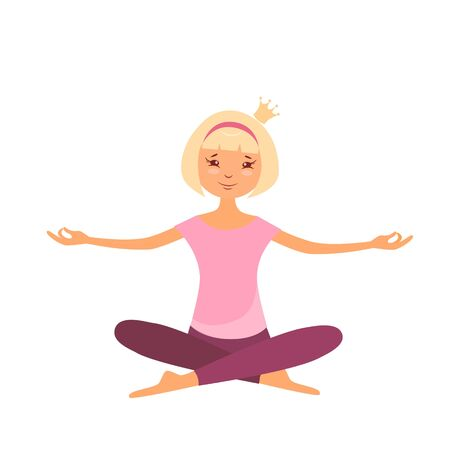 Vector illustration of a girl in lotus position doing yoga