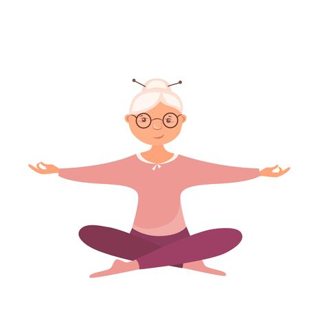 Vector illustration of an old woman in lotus position doing yoga