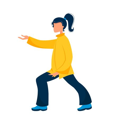 Vector illustration of a girl performs qigong and tai chi exercises Ilustração