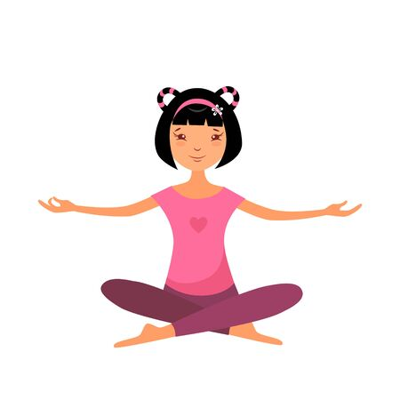 Vector illustration of a girl in lotus position is meditating