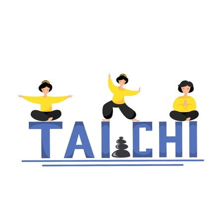 Vector illustration of tai chi exercise. Women perform tai chi and qigong exercises