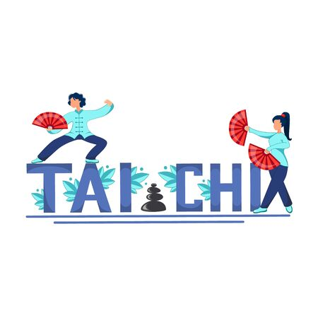 Vector illustration of tai chi and qigong exercises. Girls with fans perform tai chi and qigong exercises