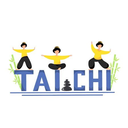 Vector illustration of girls perform tai chi exercises