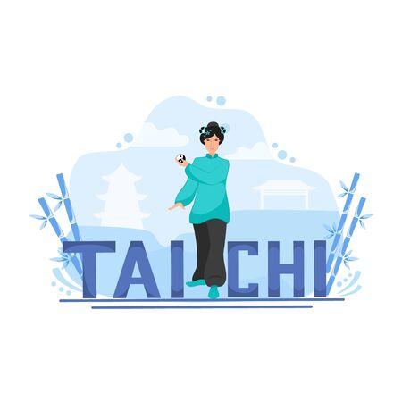 Vector illustration of a girl with a tai chi ball performs tai chi exercises Illusztráció