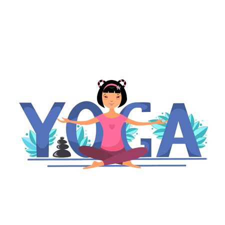 Vector illustration of a girl in the lotus position performs yoga exercises