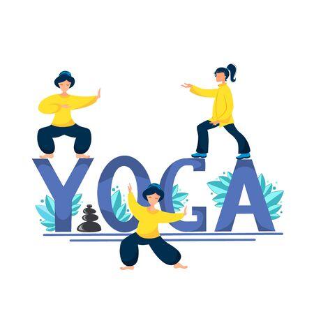 Vector illustration of a woman perform yoga exercises Illusztráció