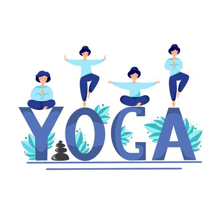 Vector illustration of a girl perform yoga exercises