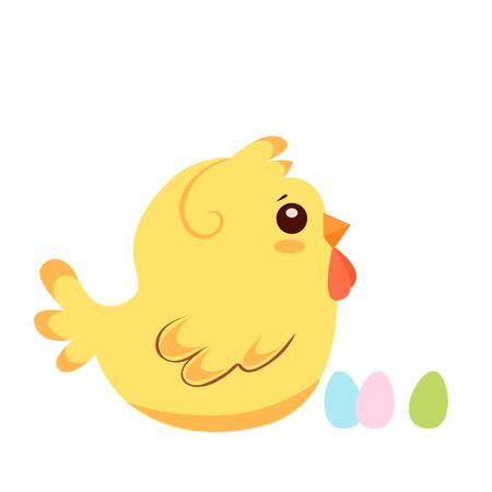 Vector illustration of funny chicken with easter eggs