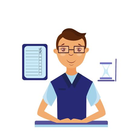 Vector illustration of office manager at the table in the office