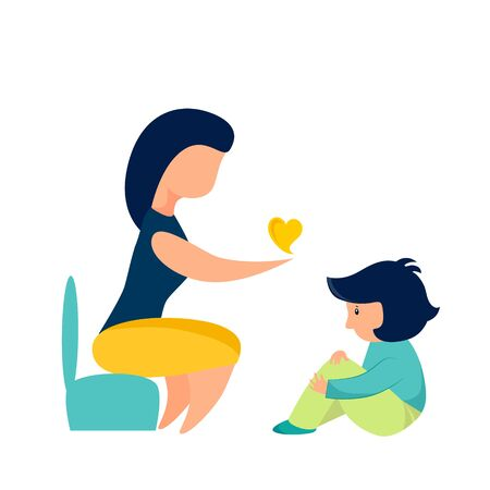 Vector illustration of a psychologist and a child