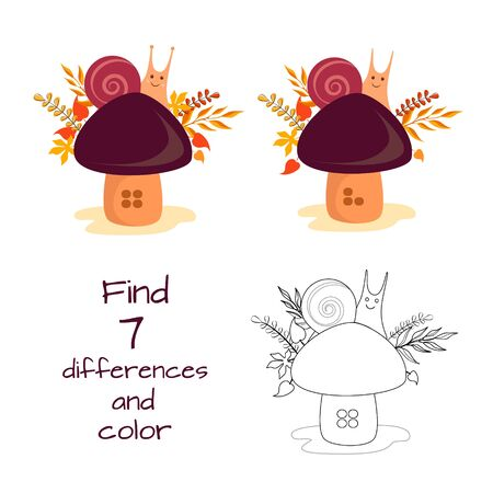 Vector illustration of a snail on a mushroom, find 7 differences and paint a picture