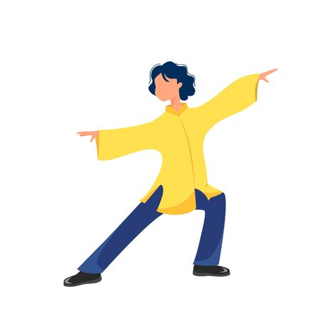 Vector illustration of a girl performs exercises tai chi