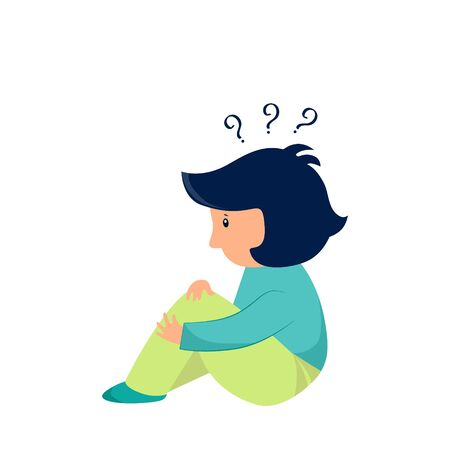 Vector illustration child with questions