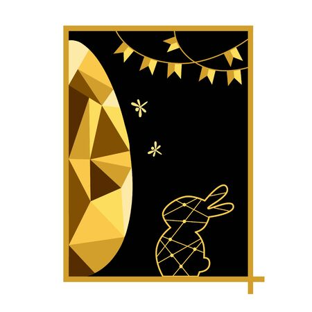 Vector Easter holiday illustration, golden egg with a rabbit. Illusztráció