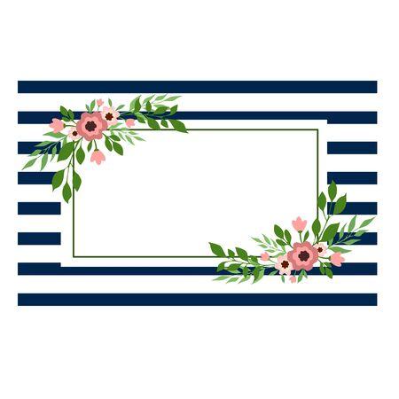 Vector illustration of a rectangular floral frame