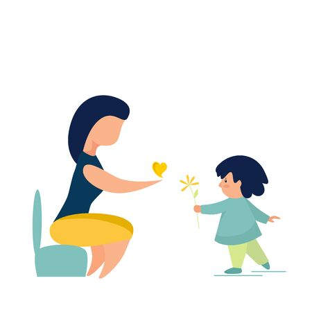 Vector illustration of a woman and a child with a flower