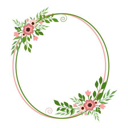 Vector illustration of a round floral frame Illusztráció